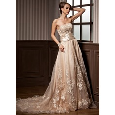 A-Line/Princess Strapless Court Train Satin Organza Wedding Dress With Ruffle Beading Appliques Lace