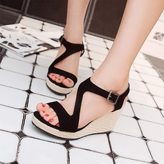 Women's Suede Wedge Heel Sandals Platform Peep Toe Slingbacks shoes