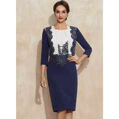 Sheath/Column Scoop Neck Knee-Length Lace Stretch Crepe Cocktail Dress With Sequins