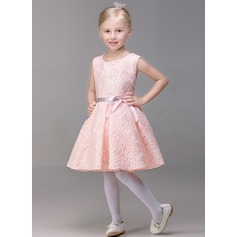 A-Line/Princess Short/Mini Flower Girl Dress - Lace Sleeveless Jewel With Bow(s)