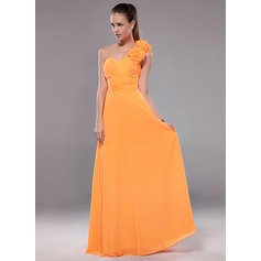 A-Line/Princess One-Shoulder Floor-Length Chiffon Evening Dress With Ruffle Flower(s)