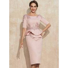 Sheath/Column Scoop Neck Knee-Length Stretch Crepe Cocktail Dress With Beading Appliques Lace Sequins Cascading Ruffles