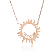 Custom 18k Rose Gold Plated Silver Sun Name Necklace - Birthday Gifts Mother's Day Gifts