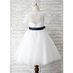 Ball Gown Knee-length Flower Girl Dress - Tulle/Lace Short Sleeves Scoop Neck With Lace/Sash/Back Hole