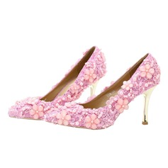 Women's Lace Stiletto Heel Closed Toe Pumps With Beading