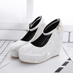 Women's Suede Wedge Heel Sandals Closed Toe Wedges With Buckle shoes