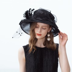 Dames Accrocheur Organza/Tulle avec Feather Chapeau melon / Chapeau cloche/Chapeaux Tea Party