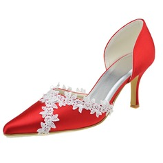 Women's Satin Stiletto Heel Closed Toe Pumps With Stitching Lace