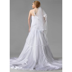 Two-tier Waltz Bridal Veils With Ribbon Edge