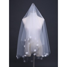 One-tier Cut Edge Elbow Bridal Veils With Satin Flower