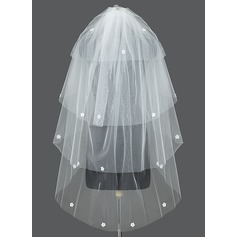 Four-tier Waltz Bridal Veils With Cut Edge