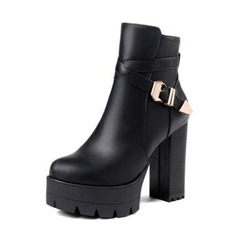 Women's Leatherette Chunky Heel Pumps Platform Boots Ankle Boots With Buckle shoes