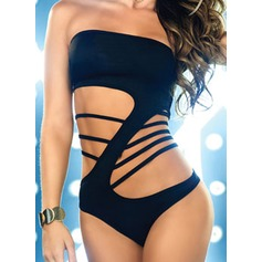 Sexy Solid Color One-piece (202084416)