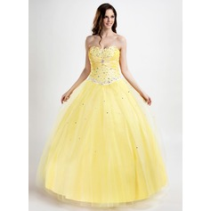 Ball-Gown Sweetheart Floor-Length Tulle Quinceanera Dress With Ruffle Beading Appliques Lace (021015799)