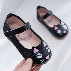 Girl's Round Toe Closed Toe Leatherette Flat Heel Flats With Sparkling Glitter Velcro