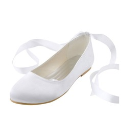 Women's Silk Like Satin Flat Heel Flats With Ribbon Tie