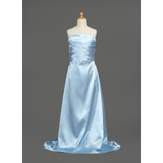 A-Line/Princess Strapless Floor-Length Charmeuse Junior Bridesmaid Dress With Ruffle