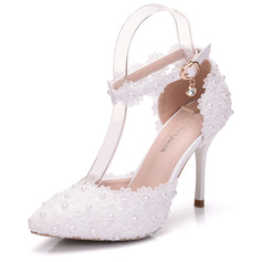 Women's Leatherette Stiletto Heel Closed Toe Pumps Sandals MaryJane With Buckle Rhinestone Applique (047144221)