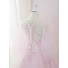 Ball-Gown/Princess Sweep Train Flower Girl Dress - Tulle/Lace 3/4 Sleeves Scoop Neck With Beading/Feather/Sequins