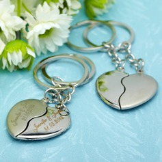 Personalized Embracing Hearts Stainless Steel Keychains