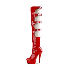 Women's Patent Leather Stiletto Heel Pumps Platform Knee High Boots With Buckle shoes
