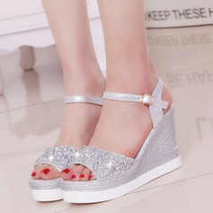 Women's PU Wedge Heel Sandals Pumps Platform Wedges With Rhinestone shoes