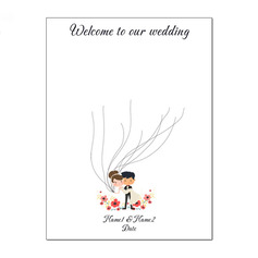 Bride and Groom Design Canvas Fingerprint Guestbook With Ink Pad