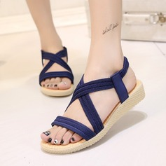 Women's Suede Wedge Heel Sandals Peep Toe Slingbacks With Others Elastic Band shoes (087121471)