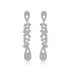 Charming Copper/Zircon With Cubic Zirconia Ladies' Earrings