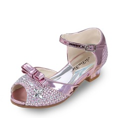 Girl's Leatherette Flat Heel Peep Toe Flats With Bowknot Buckle Rhinestone