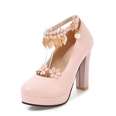 Women's PVC Chunky Heel Pumps Platform With Chain Tassel Flower shoes