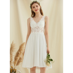 V-neck Knee-Length Chiffon Lace Wedding Dress With Sequins (265257085)