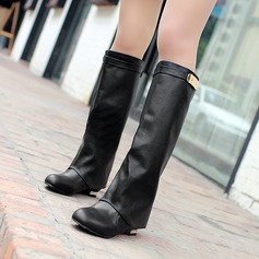 Women's PU Flat Heel Flats Boots Knee High Boots With Others shoes