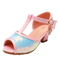 Girl Peep Toe Microfiber Leather Flower Girl Shoes With Buckle Rhinestone