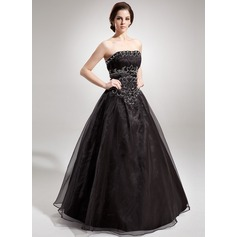 Ball-Gown Strapless Floor-Length Organza Quinceanera Dress With Ruffle Beading