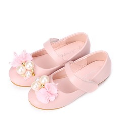 Girl's Closed Toe Leatherette Flat Heel Flats Flower Girl Shoes With Imitation Pearl Velcro Flower