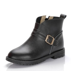 Girl's Closed Toe Ankle Boots Real Leather Flat Heel Boots With Buckle Zipper