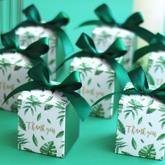 Pretty Floral Theme Cubic Card Paper Favor Boxes & Containers With Ribbons