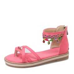 Women's Suede Flat Heel Sandals Flats With Beading shoes