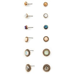 Chic Alloy Ladies' Fashion Earrings (Set of 6 pairs)