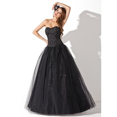 Ball-Gown Sweetheart Floor-Length Tulle Quinceanera Dress With Beading Sequins (021004678)
