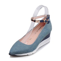 Women's Denim Wedge Heel Closed Toe Wedges With Buckle shoes