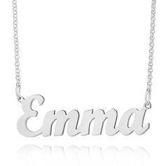 Custom Silver Letter Name Necklace - Valentines Gifts (288217711)