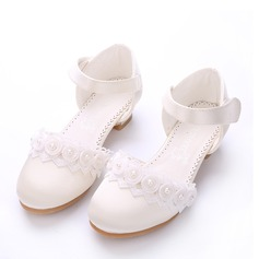 Jentas Lukket Tå Silk Som Satin lav Heel Pumps Flower Girl Shoes med Velcro Blomst