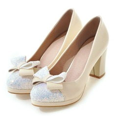 Women's Leatherette Sparkling Glitter Kitten Heel Closed Toe Pumps With Bowknot