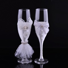 Toasting Flutes With Faux Pearl (126092505)