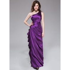 Sheath/Column One-Shoulder Floor-Length Charmeuse Evening Dress With Beading Cascading Ruffles