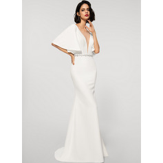 Trumpet/Mermaid V-neck Sweep Train Stretch Crepe Evening Dress With Beading