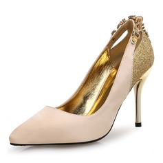 Women's Silk Stiletto Heel Pumps With Chain Split Joint shoes