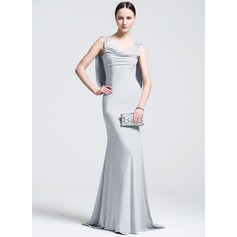 Trumpet/Mermaid Cowl Neck Sweep Train Jersey Evening Dress With Beading Sequins